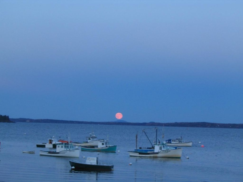 Maine's Lobsterboats - Moonrise Over Lincolnville Beach Maine